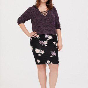 Torrid Black Floral Foldover Mini Skirt Pull on 1X